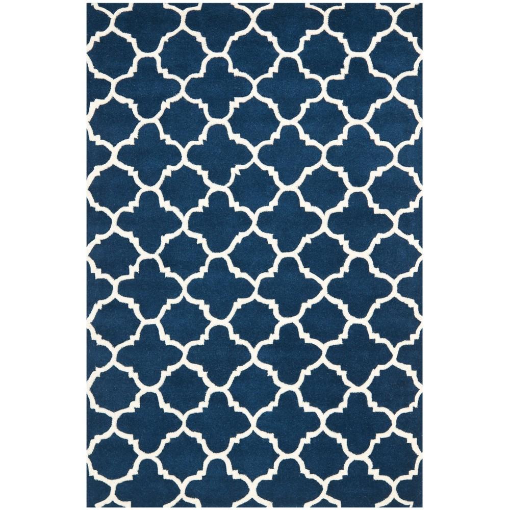 4'X6' Tufted Quatrefoil Design Area Rug Dark Blue - Safavieh, Dark Blue/Ivory