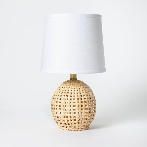 Round Rattan Accent Lamp Brown - Threshold™ - image 1 of 4