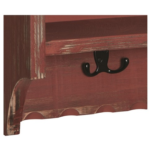 Rustic Cottage Coat Hooks With Storage Cubbies Antique Finish