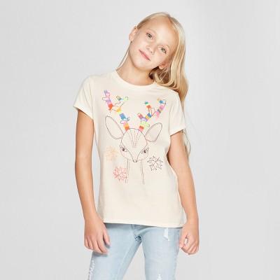 Girls' Deer Graphic Short Sleeve T-Shirt - Cat & Jack™ Cream L