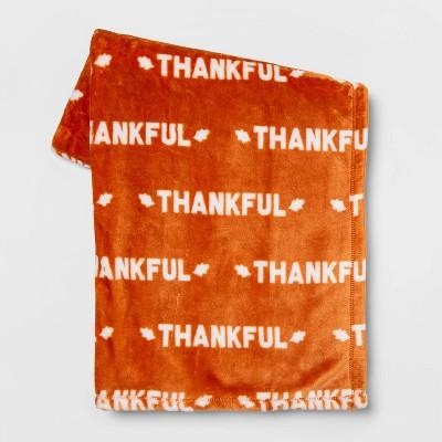 'Thankful' Throw Blanket Orange/White