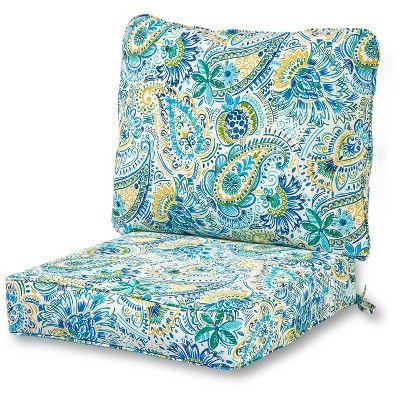 2pc Baltic Paisley Outdoor Deep Seat Cushion Set - Kensington Garden