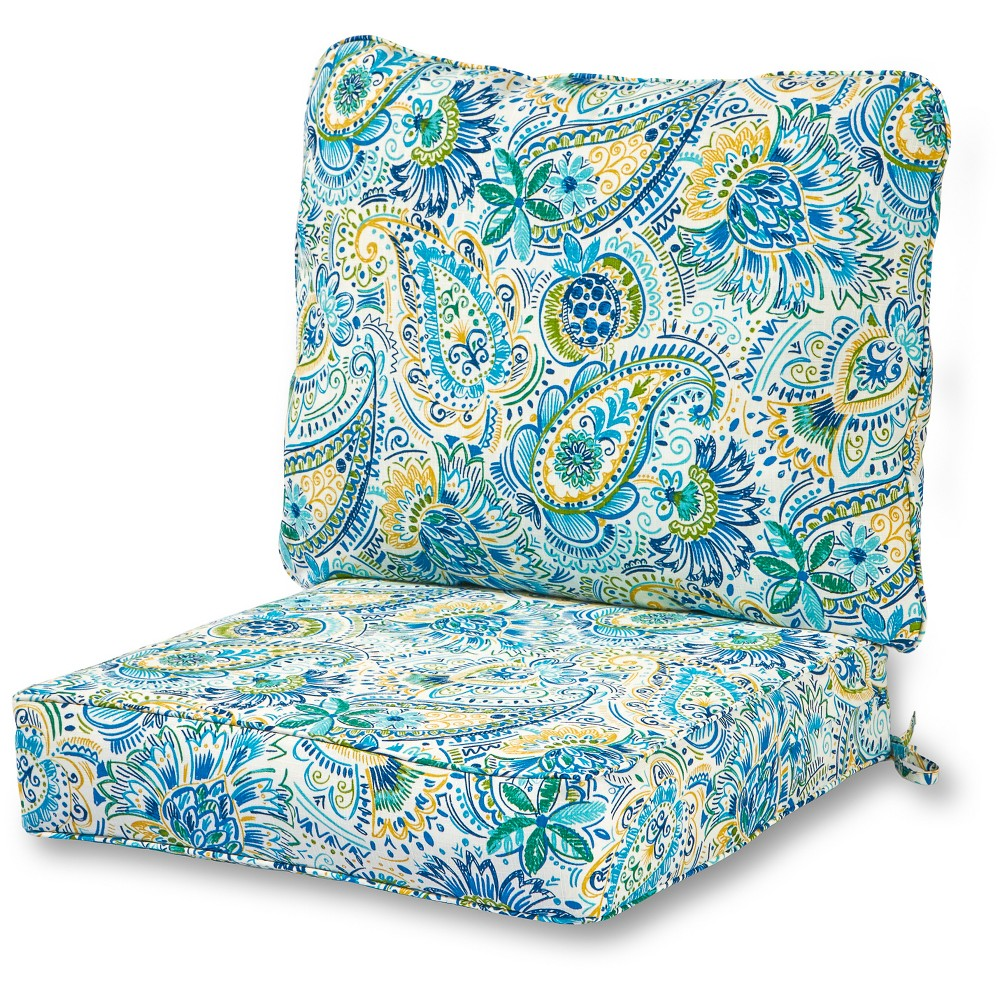 Image of 2pc Baltic Paisley Outdoor Deep Seat Cushion Set - Kensington Garden