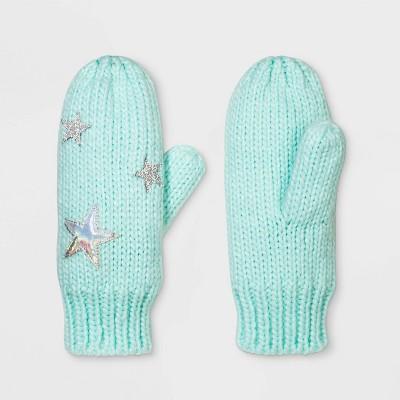Girls' Star Knit Mittens - Cat & Jack™ Mint One Size