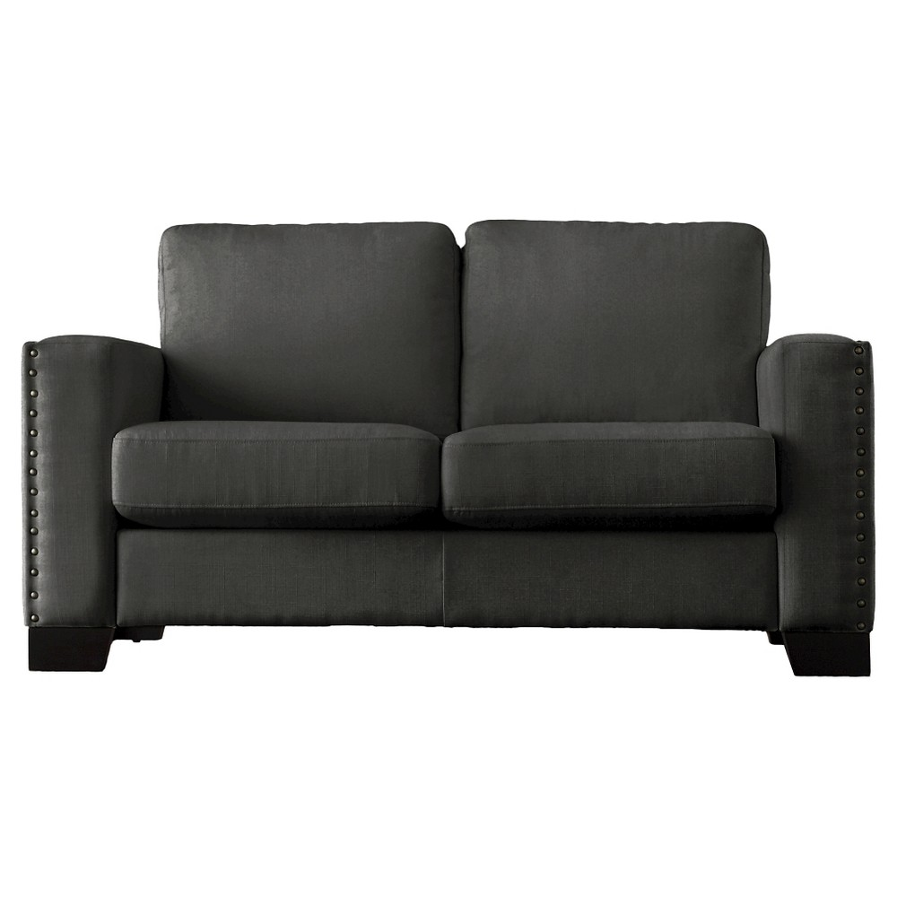 Carnegie Hill Nailhead Loveseat Charcoal (Grey) - Inspire Q