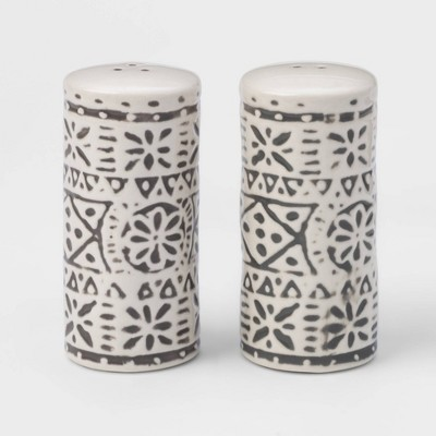 2pc Stoneware Genesis Stripe Salt and Pepper Shaker Set White/Gray - Threshold™