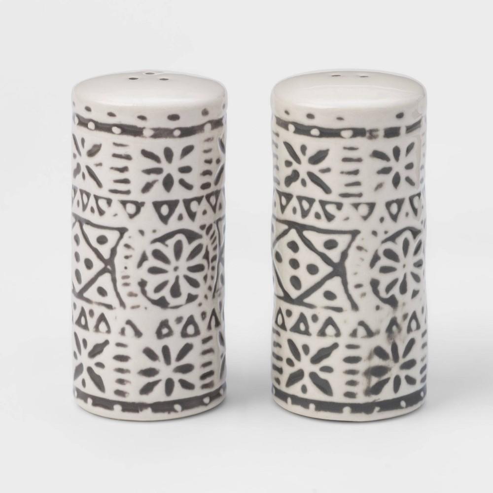 Image of 2pc Stoneware Genesis Stripe Salt and Pepper Shaker Set White/Gray - Threshold