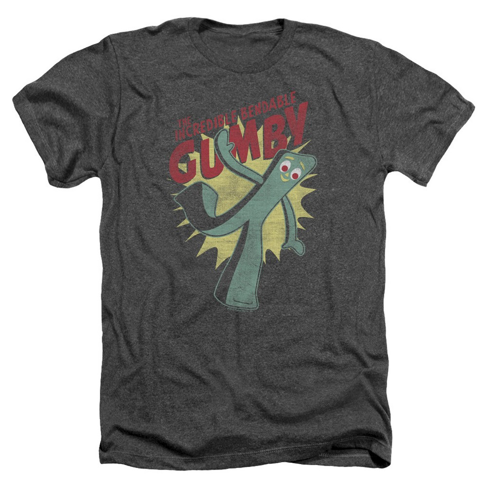 Top Mens Gumby The Incredible Bendable Gumby T-Shirt - Charcoal L