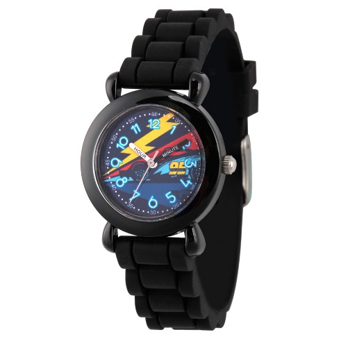 Boys' Disney Cars 3 Lightning Mcqueen Black Plastic Time Teacher Watch - Black - image 1 of 2