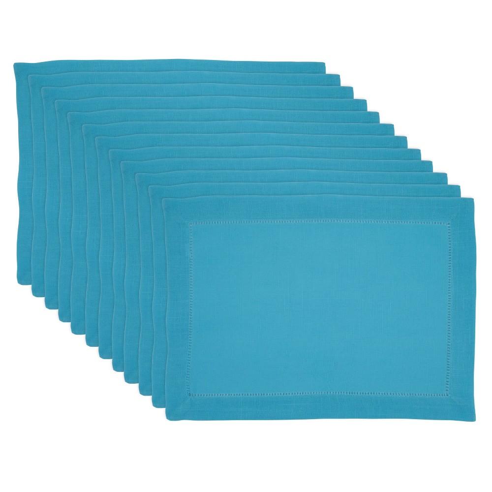 Image of 4pk Polyester Hemstitched Border Placemats Blue - Saro Lifestyle