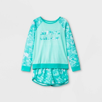 Girls' 2pc 'Always Dreaming' Tie-Dye Pajama Set - Cat & Jack™ Green