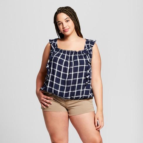 86d26a834a1 Women s Plus Size Plaid Ruffle Tank - Universal Thread™ Navy 1X