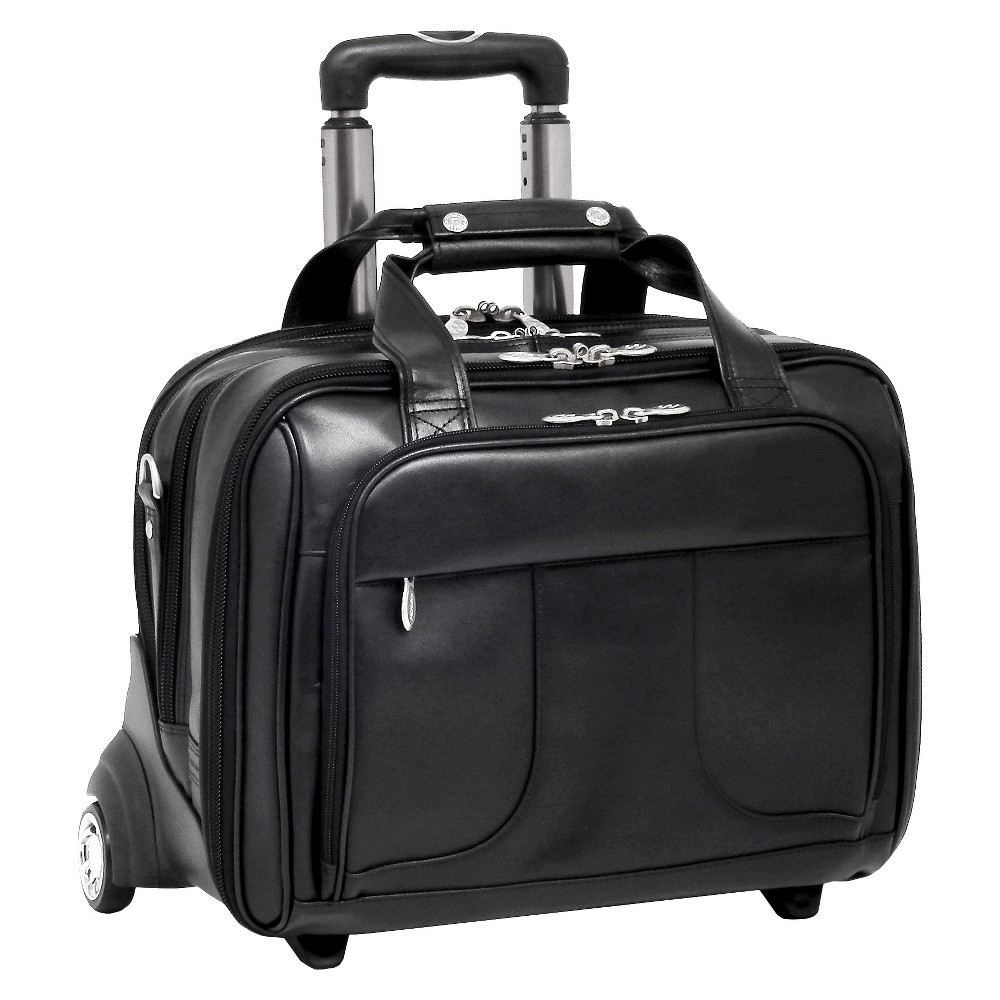 McKlein Chicago 15 Leather Patented Detachable - Wheeled Laptop Overnight with Removable Briefcase (Black)