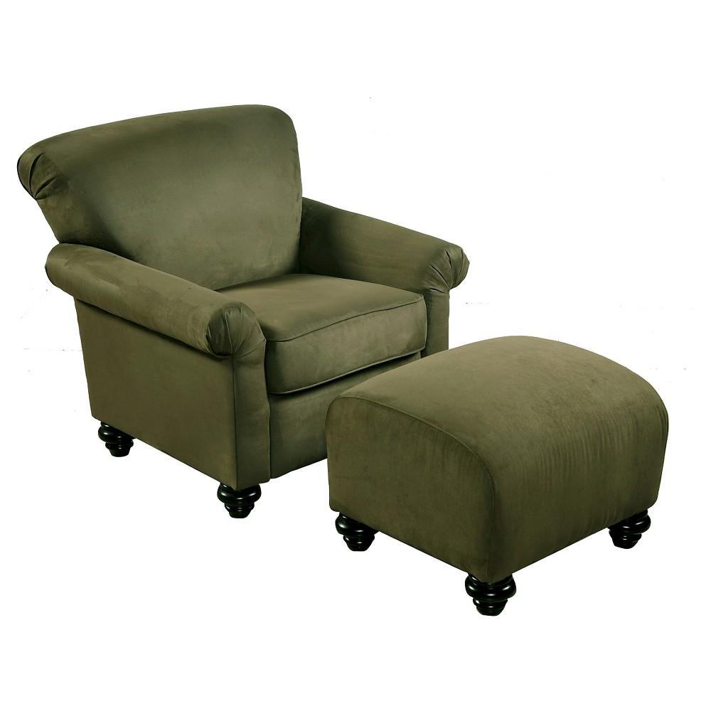 Frank Chair and Ottoman - Dark Moss (Green) - Handy Living