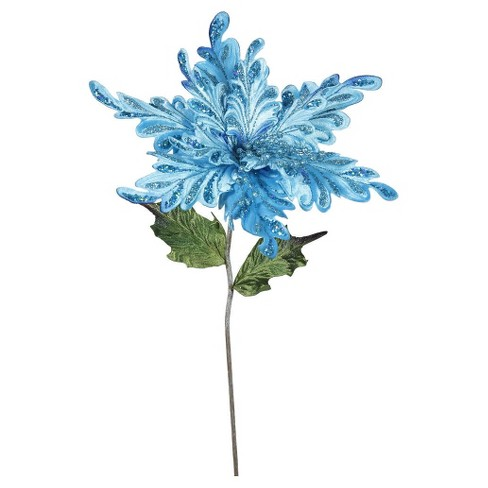"15"" Christmas Velvet Poinsettia Sky Blue 3 ct - image 1 of 1"