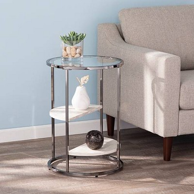 Lademore Round Side Table with Faux Stone Black - Aiden Lane