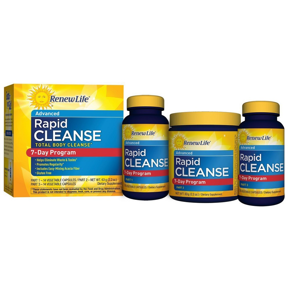 Renew Life Rapid Cleanse Total Body Cleanse 7-Day Program Capsules & Supplement Powder - 28ct & 2.2oz