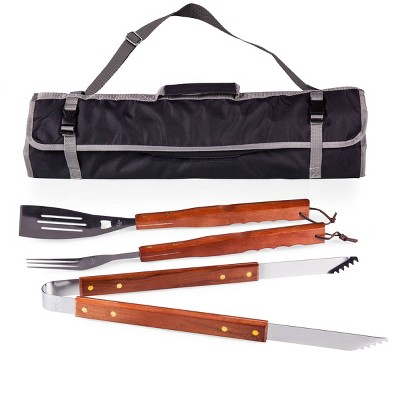 Picnic Time BBQ Tote - Black/Silver 3 Pc Tool Set with Tote