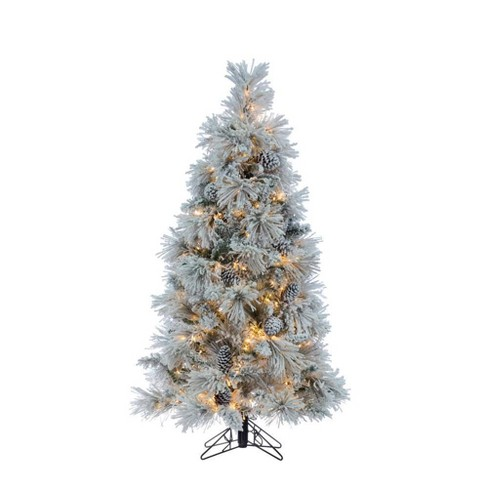 Slim Flocked Christmas Tree With Lights.5ft Sterling Tree Company Led Flocked Slim Crystal White Pine Artificial Christmas Tree