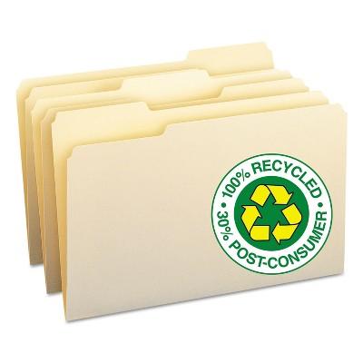 Smead 100% Recycled File Folders 1/3 Cut One-Ply Top Tab Legal Manila 100/Box 15339