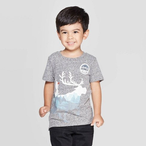 Toddler Boys' Frozen Adventure Patch Short Sleeve T-Shirt - Charcoal - image 1 of 3