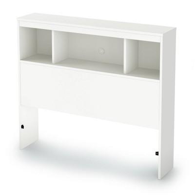 Twin Litchi Bookcase Headboard   Pure White  - South Shore