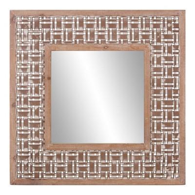 """32"""" x 32"""" Lattice Woven Square Decorative Wall Decor Wood/Brown - Patton Wall Decor"""