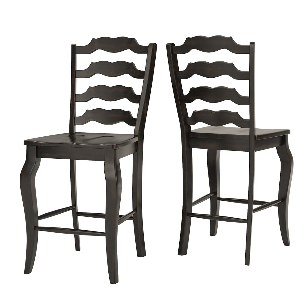 South Hill French Ladder Back 24 in. Counter Chair (Set of 2) - Antique Black - Inspire Q
