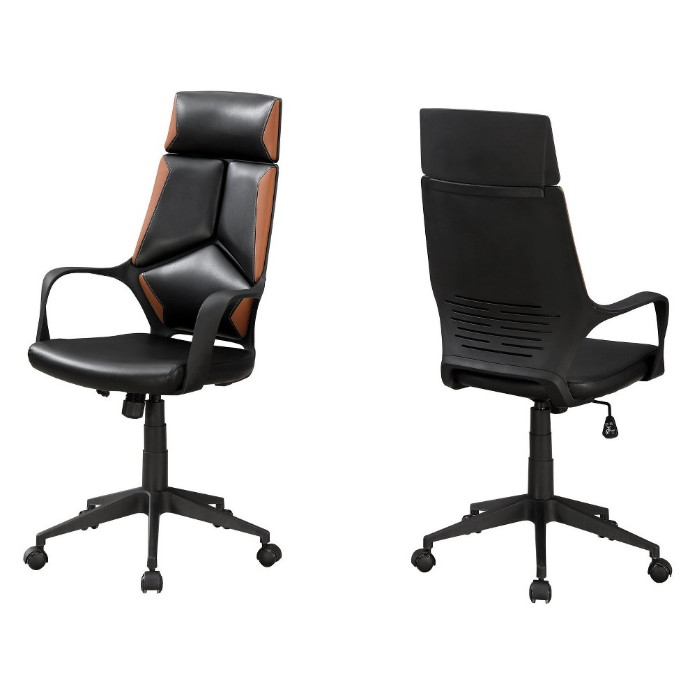 Office Chair Leather Look Executive Black Brown Everyroom