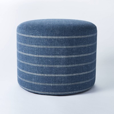 Lynwood Upholstered Round Cube Navy - Threshold™ designed with Studio McGee