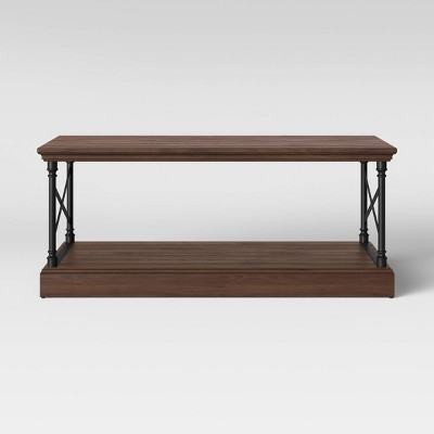 Threshold Conway Wood Coffee Table with Cast Iron Frame