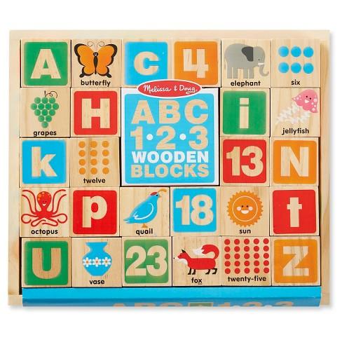 Melissa & Doug ABC/123 Wooden Blocks (26pc) - image 1 of 3