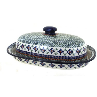 Blue Rose Polish Pottery Mosaic Flower Bread Container