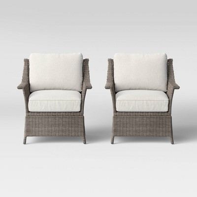 Foxborough 2pk Patio Club Chair Linen - Threshold™