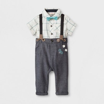 Baby Boys' 4pc. Short Sleeve Collared Button-Down Bodysuit, Twill Pants, Bow Tie and Suspenders - Cat & Jack™ White/Gray 0-3M