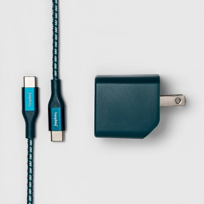 heyday™ 2-Port USB-A  USB-C Wall Charger (with 6 USB-C to USB-C Braided Cable)