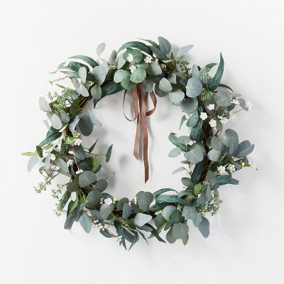 "28"" Artificial Eucalyptus Leaves and Flower Petal Wreath White - Threshold™ designed with Studio McGee"