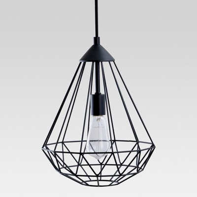 Entenza Faceted Geometric Pendant Ceiling Light Black Lamp Only - Project 62™