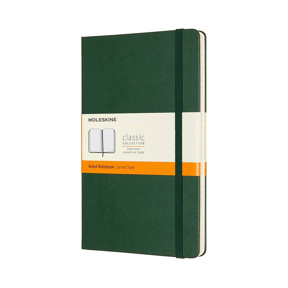 Moleskine Narrow Rule Notebook 8 25 34 X5 34 Hard Cover Large Classic Myrtle Green