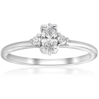 Pompeii3 1/3 Marquise Diamond Engagement Ring 10k White Gold