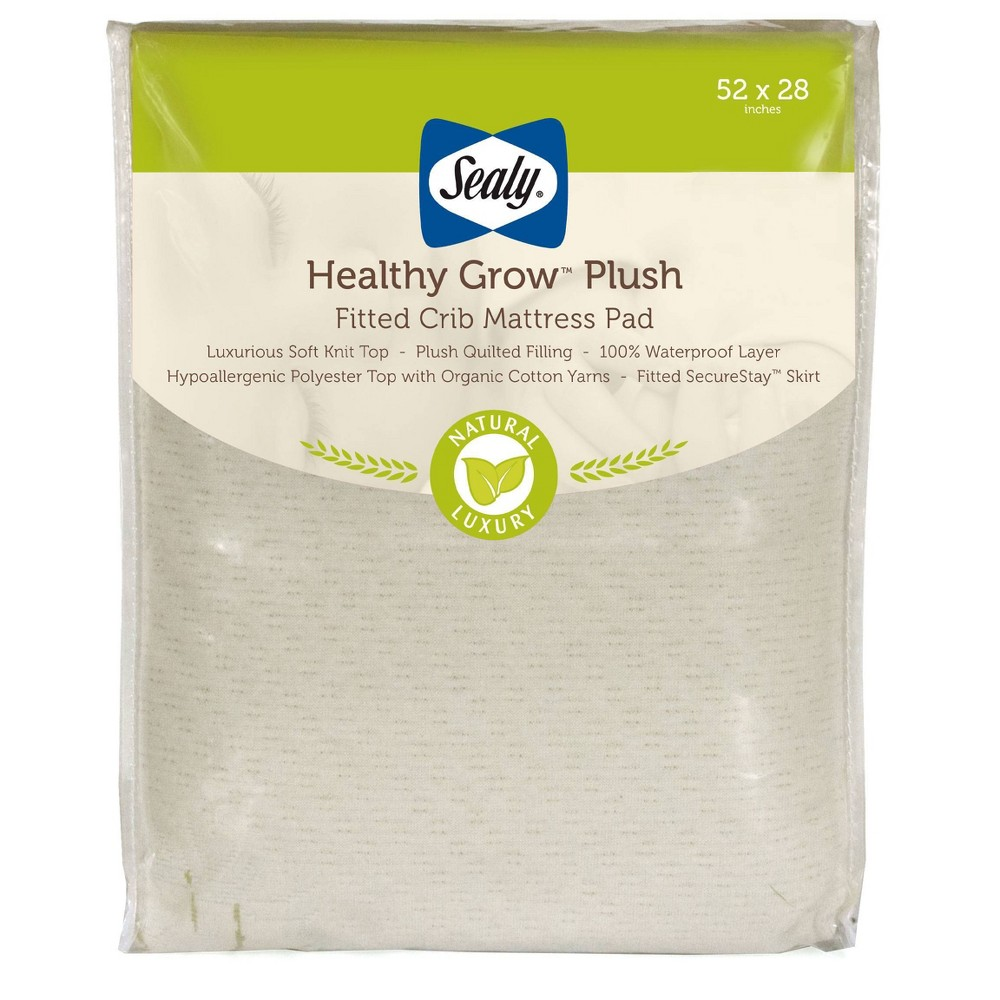 Image of Sealy Healthy Grow Plush Waterproof Crib Mattress Pad with Breathable Knit Top, Beige