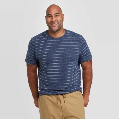 Men's Big & Tall Regular Fit Novelty Crew Neck Jacquard Stripes T-Shirt - Goodfellow & Co™ Blue