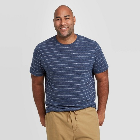 Men's Big & Tall Standard Fit Novelty Crew Neck Jacquard Stripes T-Shirt - Goodfellow & Co™ Blue - image 1 of 3