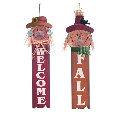 Transpac Wood 28 in. Multicolor Fall/Harvest Scarecrow Wall Decor Set of 2