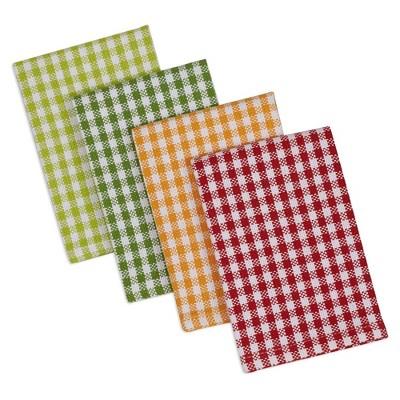 4pk Cotton Pea Patch Check Heavyweight Dishcloths Green - Design Imports