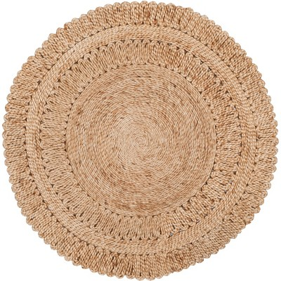 3' Solid Woven Round Accent Rug Natural - Safavieh