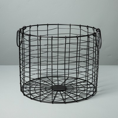 Large Round Wire Storage Basket with Handles Black - Hearth & Hand™ with Magnolia