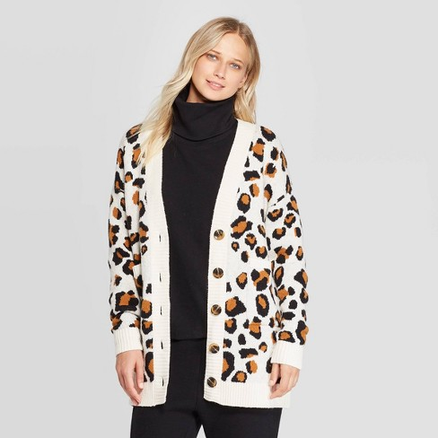 Women's Leopard Print Boyfriend Cardigan - Who What Wear™ White - image 1 of 3