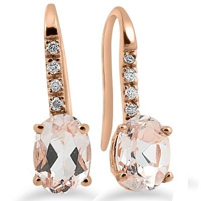 "Pompeii3 1 1/5Ct Morganite & Diamond Drop Earrings 14K Rose Gold 3/4"" Tall"