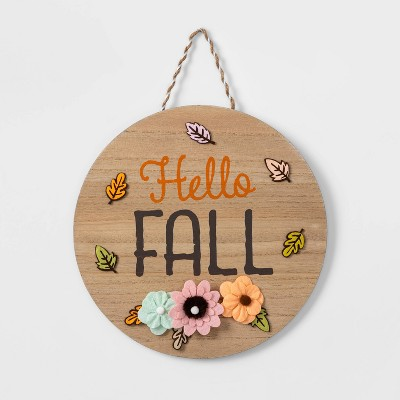 "Circle ""Hello Fall"" Harvest Hanging Wall Sign - Spritz™"